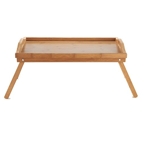 Bamboo Serving Tray Breakfast Bed Table with Wooden Folding Legs, Bamboo...