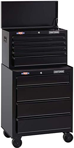 CRAFTSMAN Tool Cabinet with Tool Chest, 26-Inch, 8 Drawer, Combo with Drawer Liner Roll, Black (CMST82765BK & CMST82764BK)