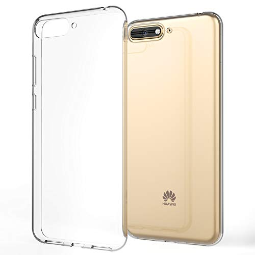 NALIA Handyhülle kompatibel mit Huawei Y6 2018, Hülle Soft TPU Silikon Hülle Cover Crystal Clear, Dünne Durchsichtige Etui Handy-Tasche Schutzhülle, Transparent Smart-Phone Cover Schutz Bumper