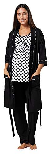 HAPPY MAMA Mujer Maternidad Conjunto Pijama/Pantalones/Cima/Bata 558p (Corazones Negros & Negro, 40, L)