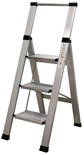 Homelux 710026 Escalera Domestica Plana, Aluminio, 3 Peldaños