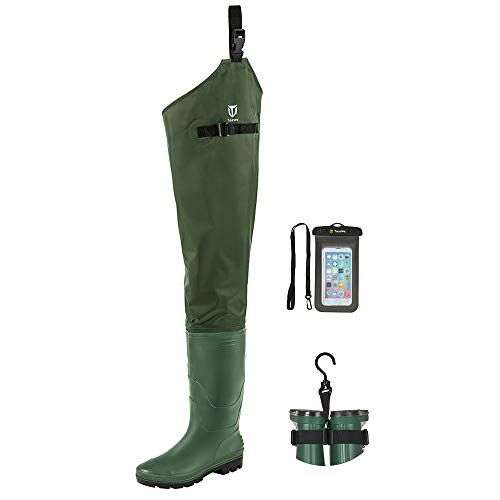 TIDEWE Hip Wader, Lightweight Hip Boot for Men and Women,2-Ply PVC/Nylon Fishing Hip Wader Green Size 10