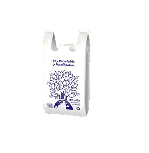PLASBEL Bolsa Camiseta Reutilizable desechable Greenatur Grande (48 x 59 cm) para Comercio Tiendas. Plástico Reciclado 65%. Apta Uso alimentario. Color Blanco. Caja 1.000 Ud (10 pq x 100 ud)