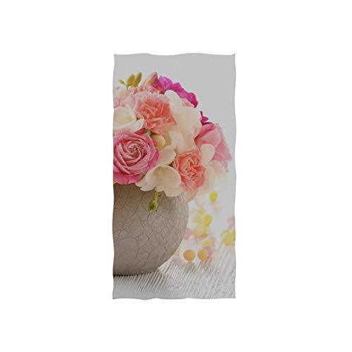 DUKAI Handtücher 30x15in, schöne frische Frühlingsblumen Topf auf Schwimmen dünnes Badetuch, drucken weich hoch saugfähig kleine Badetuch für Bad, Hotel, Fitnessraum und Spa
