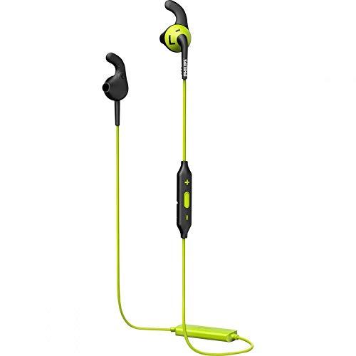Philips Actionfit Sportkopfhörer SHQ6500CL/00 Sportkopfhörer Bluetooth (In-Ear, Bluetooth, Schweiß- und wasserfest, Earbuds, rutschfeste Gummikappen, Kevlar-verstärktes Kabel) schwarz/gelbgrün