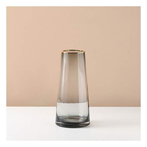 SHUTING2020 Jarrones Gris Transparente Golden Edge Vidrio Jarrón de Vidrio Sala de Estar Desktop Simple Modern Vase Decoration 3 tamaños para su elección Jarrones de Flores de (Size : Small)
