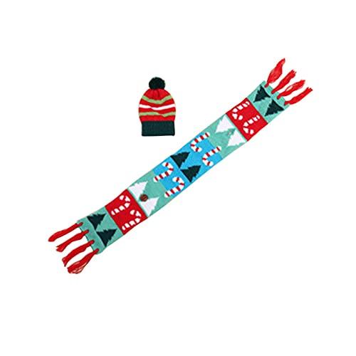 Decoración de botella de vino de Navidad, cubierta de bufanda de botella de vino con sombrero bolsas de botella de vino para decoración de mesa, decoración de fiesta de Navidad (C)