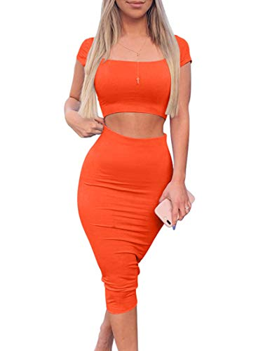 Kaximil Women's Sexy Bodycon Midi Club Dresses Basic Casual 2 Piece Outfits Crop Top Skirt Set,X-Large,Orange