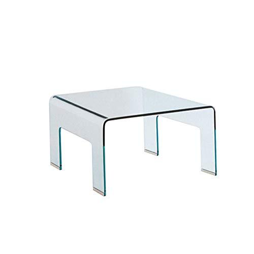 Arreditaly Tavolino Basso da Salotto Salone caffè Quadrato in Vetro Temperato e Curvato Luxury Z-36 - Design Curvo Moderno Ed Elegante 90 x 33 x 90 Cm