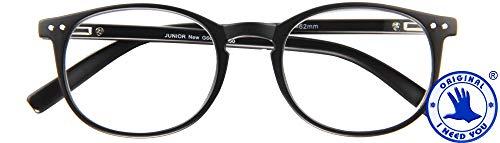 I NEED YOU JUNIOR New, G66600, panto-kunststofbril, metalen veerscharnier, zwart, 2 dioptrieën