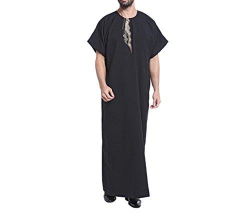 zhxinashu muslimische Männer Roben Saudi Arabien Kostüm Casual Männlichen Kaftan Kleidung,Schwarz,S