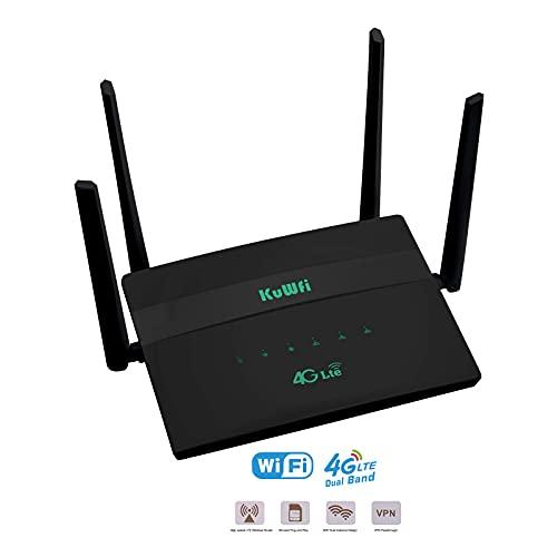 Router 4G LTE, KuWFi 300Mpbs Desbloqueado 4G CPE Router con Ranura para Tarjeta SIM WiFi Hotspot Enrutador inalámbrico con 4 Antenas WiFi de Alta Ganancia Compartiendo 32 usuarios