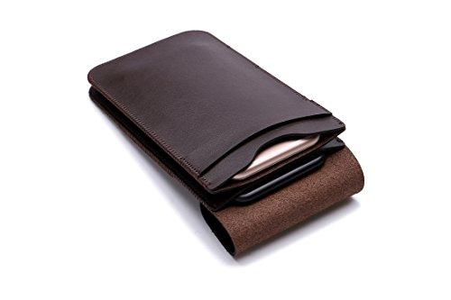 Funda de microfibra de cuero con doble bolsillos para varios modelos de teléfono, con gancho y lazo, para todos los teléfonos inteligentes de menos de 6.3 pulgadas (marrón)
