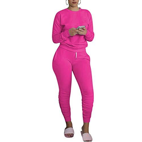 Mujeres Casual 2 Piezas Deporte Trajes De Color Sólido Jersey De Manga Larga Camisa De Cintura Alta Pantalones Jogger Conjunto Monos