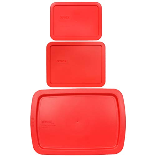 Pyrex (1) 7210-PC 3 Cup Lid, (1) 7211-PC 6 Cup Lid, and (1) C-233-PC 9' x 13' 3 Quart Easy Grab Lid Red Replacement Lids