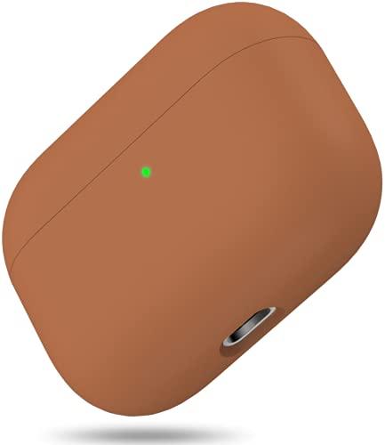 Silikon Hülle Kompatibel mit AirPods Pro, Front LED Sichtbar Hülle für AirPods 3, case für Airpods pro 2019, Zweiteilige Schutzhülle für AirPods Pro, unterstützt Kabelloses Laden (Braun)