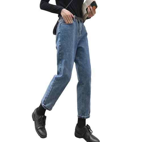 Jeans Moderni da Donna Moda istantaneamente Slim Fit Rilassato Gamba Dritta Junior Denim Commuter Tutto-fiammifero Tinta Unita M
