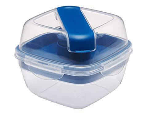LOCK & LOCK to-GO 2 in 1 Salat Box – Salatdose mit Trennfach – aus hochwertigem, transparentem Kunststoff, bpa-frei – auslaufsicher – quadratisch, 950 ml, blau