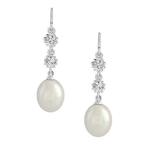 Pearl Pendientes de gota, pendientes de novia, Pearl Dangle Pendientes, Oro Cz Pendientes