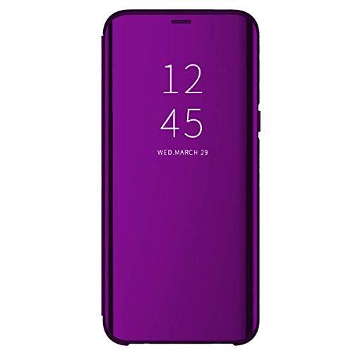 Funda Samsung Galaxy S20/S20+/S20 Ultra 5G Flip Carcasa Espejo Clear View Transparente 360° Calidad PC Protectora Estuche Ultra Delgado Anti-Choque con Función de Soporte (S20, Violeta Oscuro)
