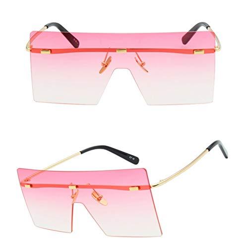 SKCLBOOS Gafas de Sol Mujeres de Gran tamaño Gafas de Sol Moda Azul Rosa Marrón Metal Sin Montura Gafas de Sol para Hombres Square Gradient Lens Shades UV400