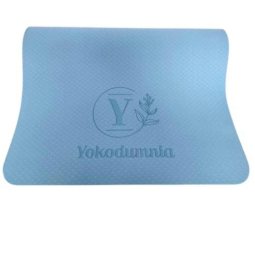 colchoneta de yoga, esterilla de yoga, doble cara azul grisáceo yoga mat, alfombrilla de yoga