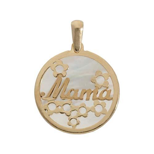 Minoplata Colgante Mama en Oro de 18 KL con nácar 17 Mm. un Precioso diseño Ideal para Regalar el Día de la Madre a mamá, Precioso y Elegante una Joya Que Siempre está de Moda