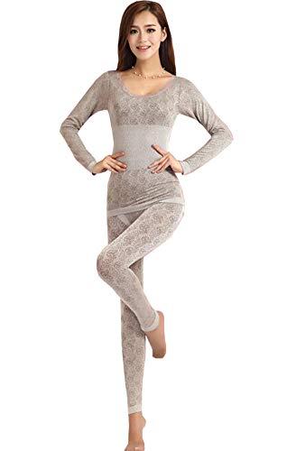 Cayuan Conjunto de Ropa Interior Térmica para Mujer Ajustado Elástica Camiseta Manga Larga & Pantalones Larga Caliente Conjunto de Pijama Invierno