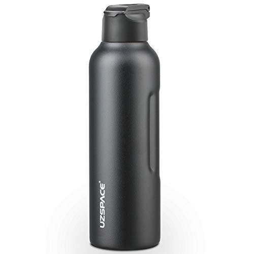 UZSPACE Edelstahl Trinkflasche, BPA-Frei Auslaufsichere Isolierflasche mit Strohhalm, 800ml/1000ml, Ideale Thermosflasche für Kinder, Schule, Sport, Laufen, Fahrrad, Camping, Outdoor
