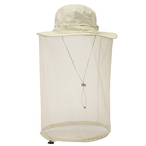 Mosquito Head Net Hat Hidden Mesh Sun Hat Men Women Outdoor Insect UV Protective Beige