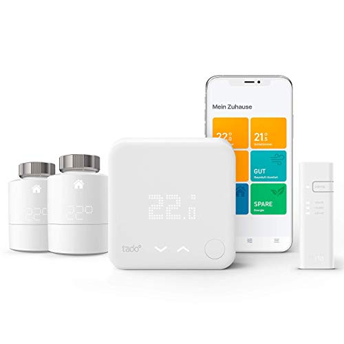tado° Smartes Thermostat - Starter Kit V3+ mit zwei Smarten Heizkörper-Thermostaten für Multi-Room Control, kompatibel mit Amazon Alexa, Apple HomeKit, und Google Assistant