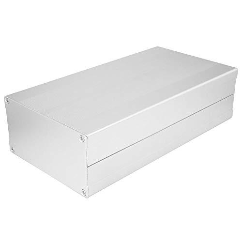Elektronische Gehäuse, DIY Platine Projekt Anschlussdose, Aluminium Box Kühlgehäuse Aluminiumlegierung Box Split Typ 55 x 106 x 200mm((Sand Silber mit flachem Teller))