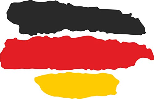 INDIGOS UG - Pegatina - 2 Pegatinas para Coche - JDM - Troquelado - Coche - Bandera Deutschland - Alemania - 3 Rayas - 70x50 mm - para Ventana Trasera Barco Coche Tuning camión