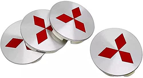 4 Piezas Tapas Centrales para Mitsubishi ASX Ralliart Outlander Lancer Pajero Eclipse Galant Pajero Sport Mirage, 58mm, Coche Llanta Rueda Cubre Embellecedor Insignia, Emblema Logo Accesorios