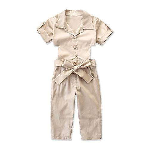 Jumpsuit met holle rug, met riem, korte mouwen, met knopen (kleur: 2Y-3Y)