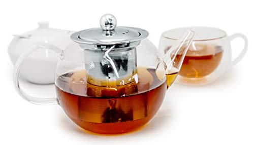 NERTHUS FIH 564 Cristal Teapot Transparent Heat Resistant with Stainless Steel Infuser, Glass