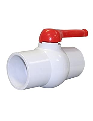 """4"""" Inline PVC Ball Valve - 4-in Single Handle Shut-Off Valves - Slip Solvent Schedule 40 Pipe Connector - EPDM Seal Schedule 40 End - White Polyvinyl Chloride Piping for Sewer Hose Swimming Pool from Charman MFG"""