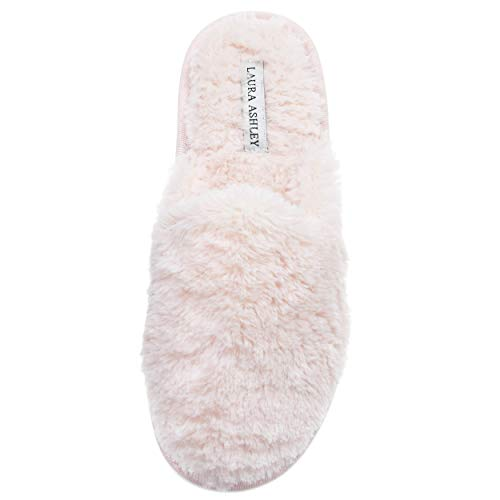 Laura Ashley Ladies All Over Plush W/Memory Foam Slippers Pink
