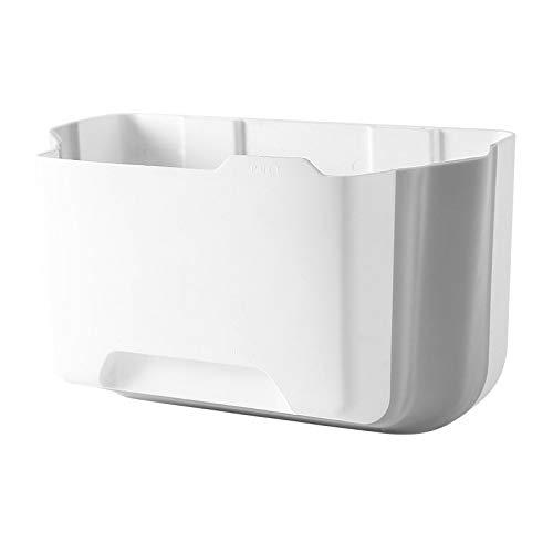 Papelera plegable plegable plegable para cocina, puerta, hogar, jardín, oficina, escuela, cocina, baño, separación seca y húmeda gabinete de basura (blanco)