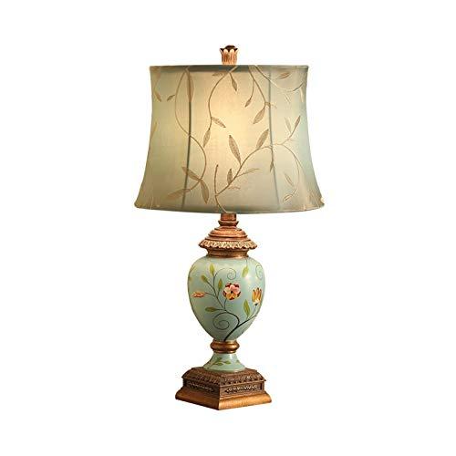 Lampara Mesilla Lámpara de mesa de mesa de mesa Lámpara de mesa Retro Bordado Pantalón Lámpara de resina Base para sala de estar Lámpara de escritorio Dormitorio E27 31 × 58cm, Azul claro Lámpara de m