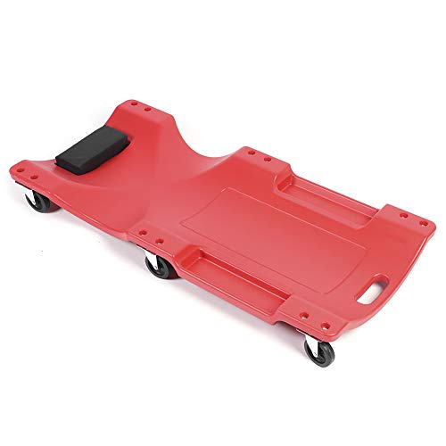 POCREATION 40in Car Creeper Board, Thickened Mechanic Creepers Blow Molded Ergonomic HDPE Body with Padded Headrest and Dual Tool Trays 350lb Capacity