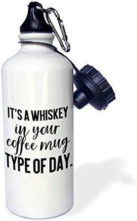 Queen54ferna Lenas Fotos lustige Zitate Whiskey in Ihrem Kaffee Tasse Art des Tages Aluminium Sport Wasserflasche weiß Wandern Gym Schule Camping Wasserflasche für Herren, Damen, Kinder