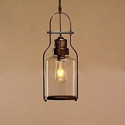 Schwarz 6 Antik Kupfer-Finish Breite Beleuchtung Jahrgang industrielle Glas Anh/änger Deckenh/ängeleuchte mit Schmiedeeisen Kronleuchter mit zylindrischem Glasdeckel