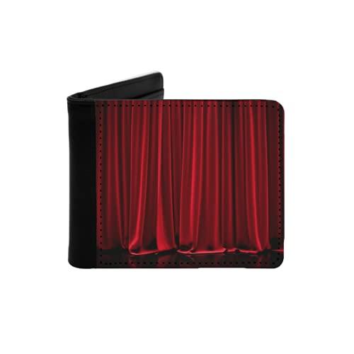Cartera Delgada de Cuero para Hombre,Cortina Cerrada roja en un Teatro,Cartera Minimalista...