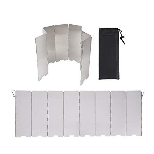 vincente Parabrisas plegable para estufa al aire libre, 8 placas de aluminio camping estufa cortavientos con bolsa de transporte, ligero quemador de butano parabrisas