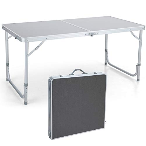 ALPHA CAMP 4ft Folding Camping Table Aluminum Adjustable Height Picnic Table Waterproof and Rust Resistant Portable Desk with Handle Stable Durable Table for Outdoor Camp Traveling Beach,10.1lbs