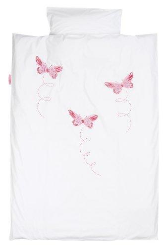 Taftan Housse de couette 100 x 135 cm Papillon pour Bébé (Rose)
