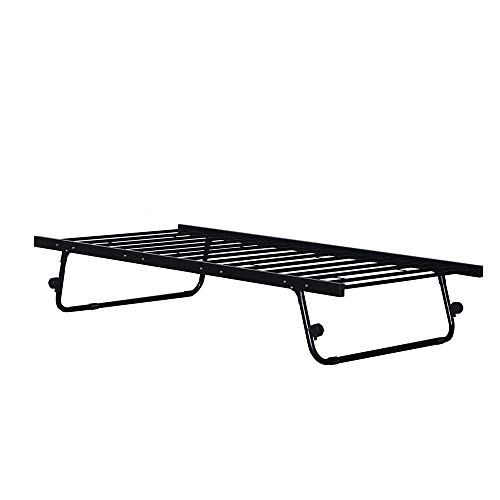 Panana 2 in 1 Single Bed Frame, 3FT Metal Guest Day Bed base with trundle Bedroom Furniture For Adults, Kids Teenagers (Trundle, Black)