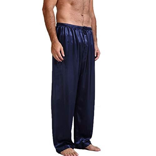 LEYUANA Pantalones Holgados de satn para Hombre, Pantalones Largos Homewear Sleep Bottoms M Navy