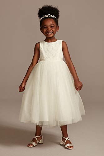 Lace and Mesh Tank Flower Girl/Communion Dress Style OP222, Ivory, 5